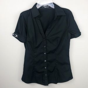 Express Black Short Sleeve Button Down Blouse